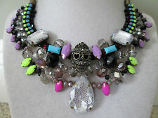 NWT Auth Betsey Johnson Stone Boost Multicolor SKULL Bead Bib Statement Necklace