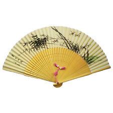 Éventail chinois en soie, motif bambou