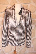 Veste rayée bleu beige neuve de marque SCHNEIDERS lin taille 40 étiqueté à 449€