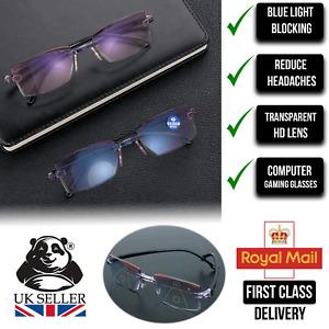 Blue Light Blocking Rimless Bifocal Reading Glasses Men Women Computer Eyewear