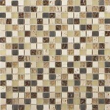 Cut down sample of Athens beige travertine glass & metal mix mosaic tiles
