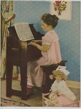 Vintage 1940's-50's Print Girl in Pajamas plays Piano Nurse Doll by Erbit