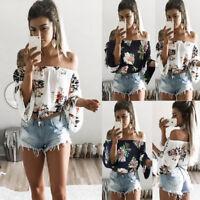 Women Off Shoulder Floral Ladies Plus Size Loose Summer Top T-Shirt Blouse Beach
