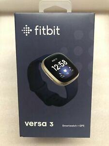 *NEW / SEALED* Fitbit Versa 3 Fitness Smartwatch - Midnight Blue / Gold - NIB