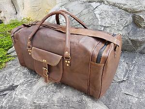 New Men Genuine Leather Vintage duffle weekend lightweight luggage travel bag