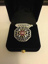 Filigree Red Natural Ruby Square Aquamarine Gold 925 Silver Ring S7