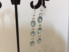 925 Sterling Silver Oval Earrings Sky Blue Topaz 3 Three Gemstones Semi Precious