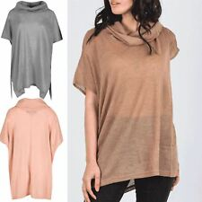 Womens Ladies Knitted Cowl Polo High Neck Batwing Oversized Baggy Side Split Top