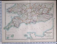 1904 LARGE MAP ENGLAND & WALES DEVON CORNWALL SCILLY ISLANDS CHANNEL DORSET