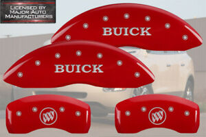 """2010-2016 """"Buick"""" LaCrosse Front + Rear Red MGP Brake Disc Caliper Covers"""
