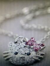 New Silver Hello Kitty Head Pink & Clear Rhinestones Chain Necklace Ships Today