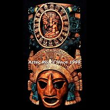 Mayan Maya Mask Head Aztec Mexico Mexican Xiuhpohualli Inca Pottery Art Calendar