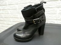 Woman's G-Star Raw Heeled Boots Leather Black Size 37 US 6.5