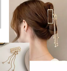 New Women Elegant Gold Hollow Geometric Metal Hair Claw Vintage Hair Clips acce