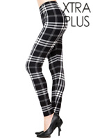 Women's Plaid Red & Black - Black & White Print Buttery Soft Leggings Size 16-20