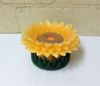QVC Home Reflections Floating Wax Sunflower Flameless Candle Luminary w Timer