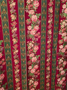 100% Cotton Fabric Sharon Kessler Concord Fabrics Floral Stripes Christmas Craft