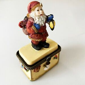Small Santa on Yellow Decorated Christmas Giftbox - good for small gift or money