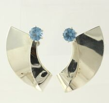 Chunky Blue Glass Earrings - Sterling Silver 925 Women's Pierced Round Solitaire
