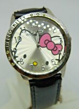 HELLO KITTY BIG FACE LADIES WATCH BLACK LEATHER BAND