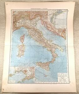 1906 Antique Map of Italy Italian Sicily Sardinia Old LARGE GERMAN Lithograph