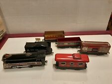 1940's Marx Tin Press NYC Train Locomotive Tender & Cars 6 Piece Set Shelf T3