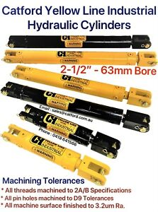 """Catford Yellow Line, Hydraulic Clevis Cylinder / Ram 2-1/2"""" Bore"""