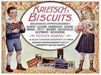 Krietsch Kekse aus Wurzen Reklame 1908 in Farbe !! Kinder Biscuits Mädchen Junge