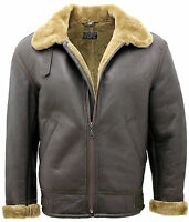 Men's Ginger B3 Shearling Sheepskin World War 2 Bomber Leather Flying Jacket