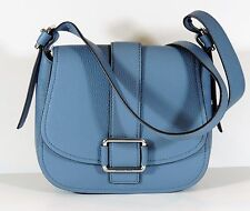 New Michael Kors Denim Blue Leather Maxine Large Saddle Bag silver handbag $358