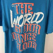 Zumba The World is Our Dance Floor Blue Short Sleeve Tee Shirt One Size
