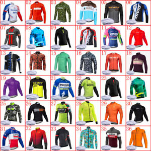 Men Winter Team Cycling thermal fleece Jersey bike long sleeve shirt bicycle Top
