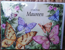"Pkg of 6 ""A NOTE FROM MAUREEN"" Bland Note Cards/Envelopes Butterflies & Flowers"