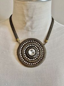 Chico's Signed BRONZE TONE CHAIN CENTERPIECE NECKLACE CLEAR RHINESTONES