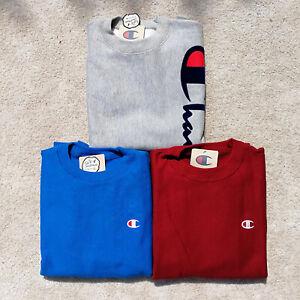 100% Authentic Men's Champion Reverse Weave Crew Sweatshirt Fleece