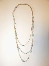ANTHROPOLOGIE NECKLACE THREE CHAIN TIER MINI BEADS RHINESTONES GOLD TONE NEW1561