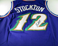 JOHN STOCKTON / NBA HALL OF FAME / AUTOGRAPHED UTAH JAZZ PRO STYLE JERSEY / COA