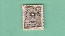 SS. 1 SOVRASTAMPA SOMALIA ITALIANA USATO RARO 1939 RECAPITO AUTORIZZATO A. DIENA