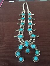 Old Pawn Navajo Squash Blossom Necklace Sterling Silver And Turquoise
