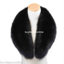 110cm Men&Women Black Real Genuine Big Fox Fur Collar Scarf Wrap Shawl Neck Warm