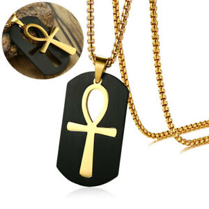 Removable Ankh Cross Pendant Necklace Egypt Gold Chain Stainless Steel Jewelry