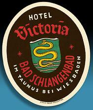 Belle âge Valise Autocollant luggage label 40er Hôtel Victoria Bad Schlangenbad