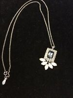 Ann Taylor Pendant Necklace Faux Pearls and Rhinestones Silver Tone