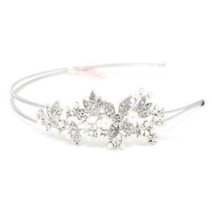 Wedding Rhinestones/pearl flowers silver Metal Head Jewelry bride Headband #818