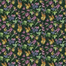 BUTTERFLIES FLOWERS DAISIES FABRIC
