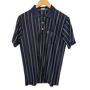 Vintage Men's Yves Saint Laurent YSL Mens M Black Stripe 100% Silk Polo Shirt