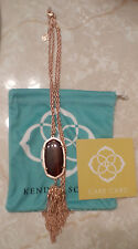 Kendra Scott Red Tiger's Eye Rose Gold Plated Rayne Tassel Necklace Rare