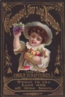 1876 Victorian Bible Card Counsel for the Young Die Cut of Boy Trust in the Lord