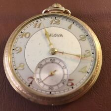 Genuine Bulova Art Deco Vintage Running Mens Engraved Pocket Watch