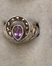 925 Sterling Silver Amethyst Marcasite Ring